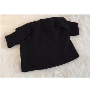 Express Cold Shoulder Black Zip Crop Top Shirt 8